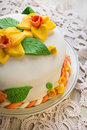 Decorated sweet layer cake sugar fondant Stock Images
