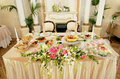 Decorated table wedding with flowers Stock Photo