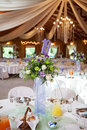 Decorated tables with candelabra at wedding reception selective beautifully focus Stock Photography