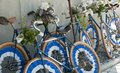 Decorated trick cycles on a wall reichenau german Royalty Free Stock Photography