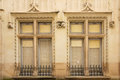 Decorated twin windows. Chinon. France Royalty Free Stock Photo