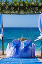 Decorated wedding table on the beach shallow dof Royalty Free Stock Images
