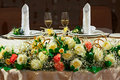 Decorated wedding table for newlyweds with two glasses of champagne Stock Images