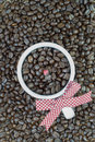 Decorated white mug with coffee beans with clipping path of heart shape easy to change or adjust heart shape color Stock Photo