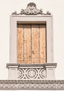 Decorated window of an Italian villa. Royalty Free Stock Photo