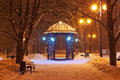 Decorated winter city park at night Royalty Free Stock Photo