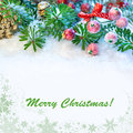 Decorated xmas tree twigs branches on snow copy space Royalty Free Stock Photo