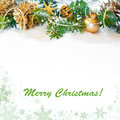 Decorated xmas tree twigs space branches on snow copy Stock Images