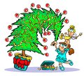 Decorating Christmas tree cartoon Royalty Free Stock Photo