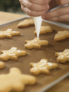 Decorating cookies close up chef with icing sugar Stock Image