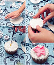 Decorating a cupcake Royalty Free Stock Photo