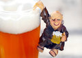 Decoration for ascension day monk on beer glass Royalty Free Stock Photography