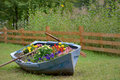 Decoration boat with flowers Royalty Free Stock Photo
