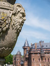 Decoration at castle de haar the netherlands decorative ornament in gardens of a medieval fortress with towers ramparts canals and Royalty Free Stock Image