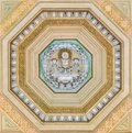 Decoration from the ceiling of the porch of the Basilica of Saint Paul Outside the Walls. Rome, Italy. Royalty Free Stock Photo