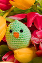 Decoration chick and tulip flowers for easter Royalty Free Stock Photo