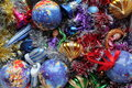 Decoration different adorn for new year and christmas time balls bells toys gloss tinsel Royalty Free Stock Photography