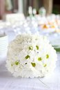Decoration of dining table for wedding reception the bouquet daisies Stock Photos