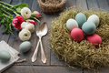 Decoration with easter eggs in a nest and flowers Royalty Free Stock Photo