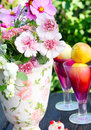 Decoration on the garden table with flowers Stock Image