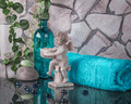 Decoration in interior of bathroom with angel Royalty Free Stock Photo