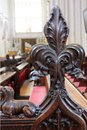 Decoration of pews in bath abbey decorative elements somerset england dark carved wood Stock Image