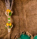 Decoration of plants on jute dry this is the plant sprigs flowers bouquet created by catholics palm sunday sanctify the church Stock Photos
