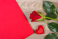 Decoration of red rose, heart and love letter for Valentines Day Royalty Free Stock Photo