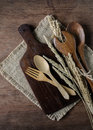 Decoration Seasonal table setting with wooden spoon and fork on