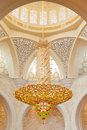 Decoration of the sheikh zayed grand mosque chandelier inside in abu dhabi united arab emirates Stock Photo