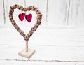 Decoration vintage wicker heart Royalty Free Stock Images