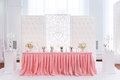 Decoration of wedding table with tender pink textile Royalty Free Stock Photo