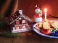 Decorations and Christmas biscuits Royalty Free Stock Images