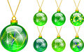Decorations for Christmas tree green Stock Photos