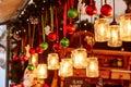 Decorations on a Parisian Christmas market Royalty Free Stock Photo