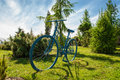 Decorations in park blue bicycle Royalty Free Stock Photo