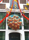 Decorations for wc at a canal house amsterdam netherlands orange and footballs world championship football soccer canalhouse in Stock Images