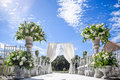 Decorations for the wedding ceremony. Flowers closeup. Royalty Free Stock Photo