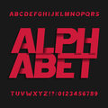 Decorative alphabet vector font. Oblique letters symbols and numbers. Royalty Free Stock Photo