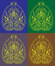 Decorative asia symbol like paisley handmade ornam ornament set of four color pattern Royalty Free Stock Image