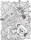Decorative background of autumn leaves. Vector Coloring book for adult. Royalty Free Stock Photo