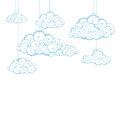 Decorative background with clouds sketch Stock Photography