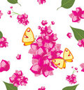 Decorative background with flowers and butterflies Stock Photos