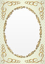 Decorative background with golden oval frame Royalty Free Stock Photo