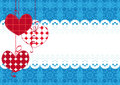 Decorative background with hearts and lace blue Royalty Free Stock Images