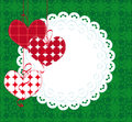 Decorative background with hearts and lace green Stock Photo