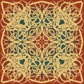 Decorative background tile in art deco design, beige, brown, red and green Royalty Free Stock Photo