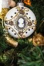Decorative ball on Christmas tree, New Year Royalty Free Stock Photo
