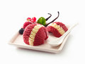 Decorative berry and vanilla ice-cream Royalty Free Stock Photo