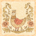 Decorative bird fabulous alconost ruusian folk style Stock Photos